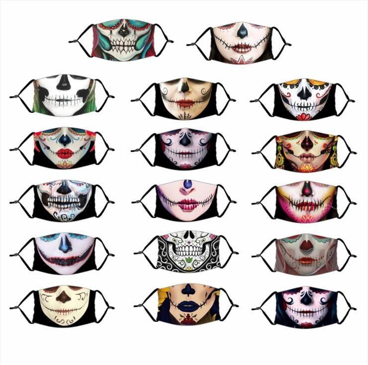 Maschere di adulti Halloween 3D Magic Digital Print Maschera Dia De Muertos Skull Bocca copertura PM2.5 maschera con filtro regolabile LSK1046 Mask