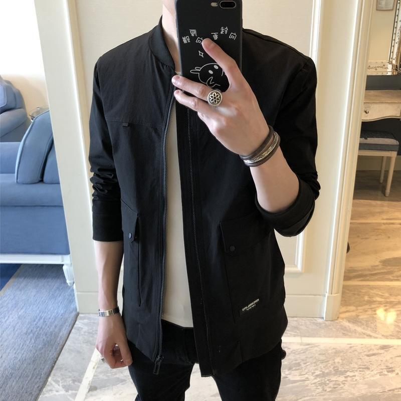 En bu Super fogo macacões cec jaqueta de rua masculina ins coreano moda outono bonito magro macacão RMMaL preta dos homens jaqueta