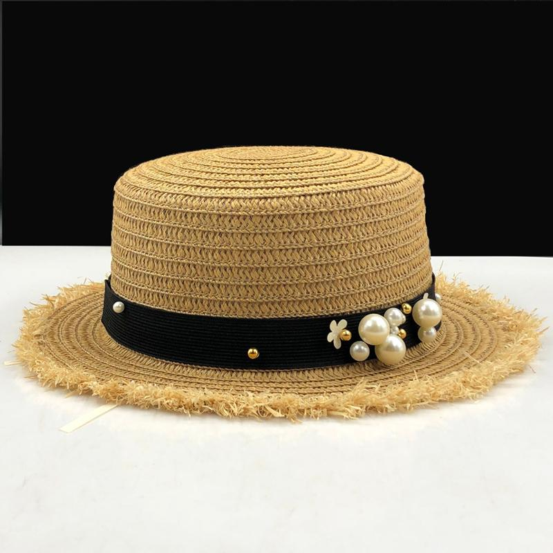 прекрасного Плоской верхних соломенной шляпа лето весна женщины путешествия шапки отдых жемчужина пляж шляпа ВС черная дышащая мода девушка цветок шлем