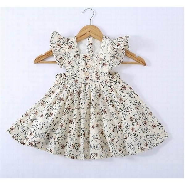 Floral al por mayor del vestido del bebé 2020 verano nuevo algodón de la llamarada de la manga vestido de la manera ropa de los niños 2-6Y LT028 0923