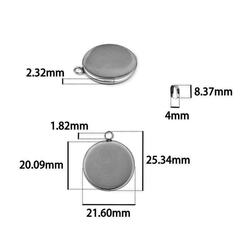 20pcs/Lot Stainless Steel 20/25/30mm Round Pendant Cabochon Base Settings Blank Tray For Necklace Jewelry Making DIY