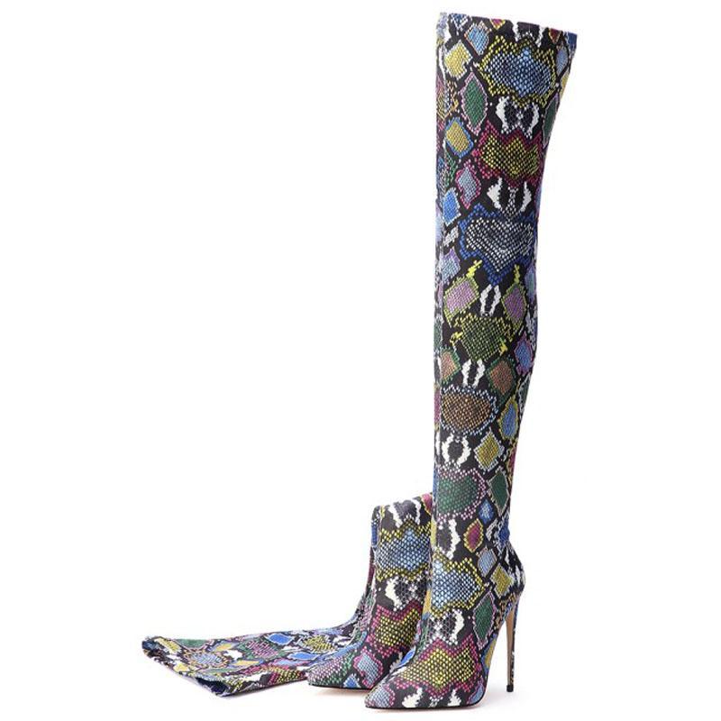 Il nuovo modo multicolore del serpente delle donne sopra il ginocchio stivali tacchi alti delle donne sexy alta della coscia Scarpe # Y0312651F