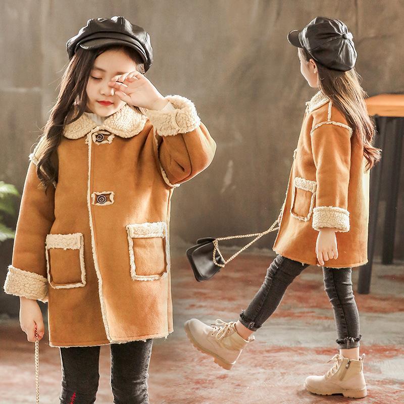 Ragazza Ragazzo Cappotto addensare Warm cachemire delle ragazze dei capretti cappotti lunghi vestiti casuali dei bambini Overwear 4-14T