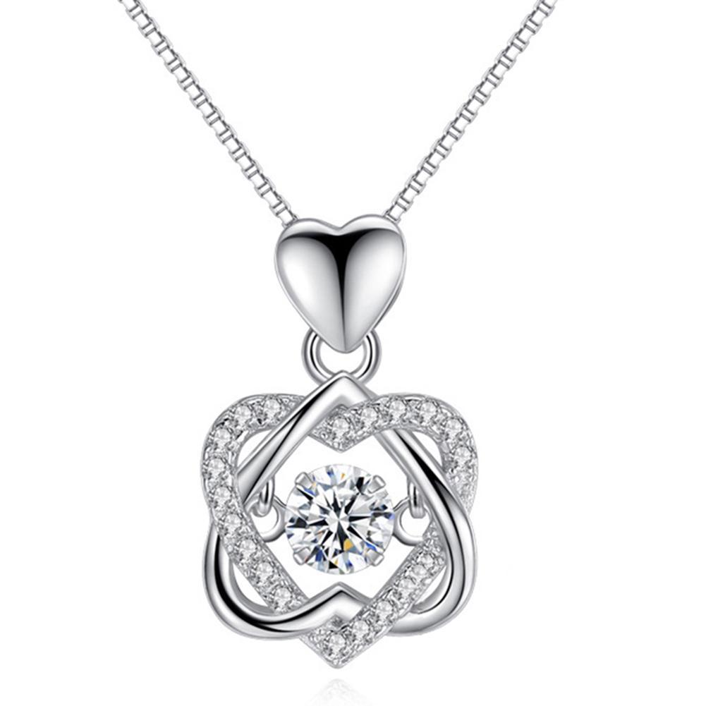 Collar de la manera romántica del corazón del doble flor colgante con circón collar de oro rosa / blanco para la joyería de las mujeres LL @ 17