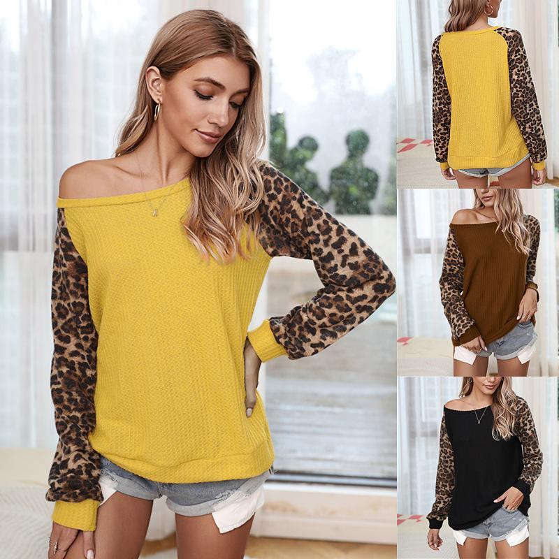 O pescoço patchwork manga longa das mulheres da forma camisetas camisa do estilo manga leopardo waffle leopardo ocasional camisola camisola