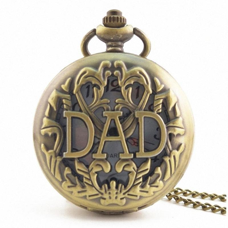 Aushöhlen DAD Vintage antike runde Vorwahlknopf-Quarz-Taschen-Uhr-Halsketten-Anhänger-Taktgeber für Frauen der Männer besten Geschenke 76vq #