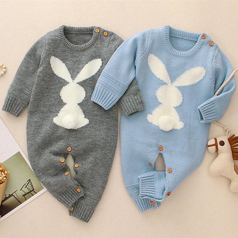 Bebé muchachas de los bebés de los mamelucos del O-cuello de ropa infantil muchacha del bebé de los niños que hacen punto de manga larga de los mamelucos E36A #