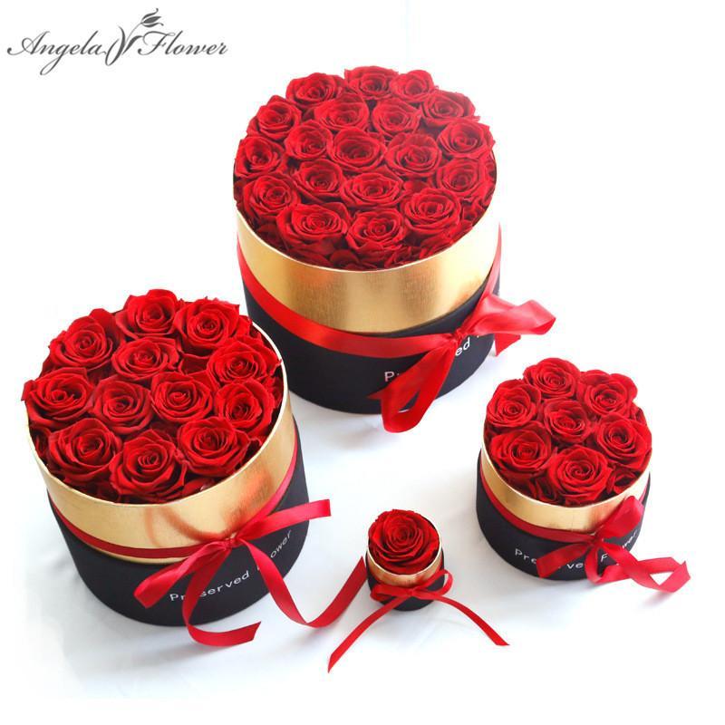 ارتفع الأبدية في المربع الحفاظ على الزهور الوردية الحقيقية مع مربع مجموعة أفضل هدية عيد الأم هدية عيد الحب الرومانسية بالجملة T200903