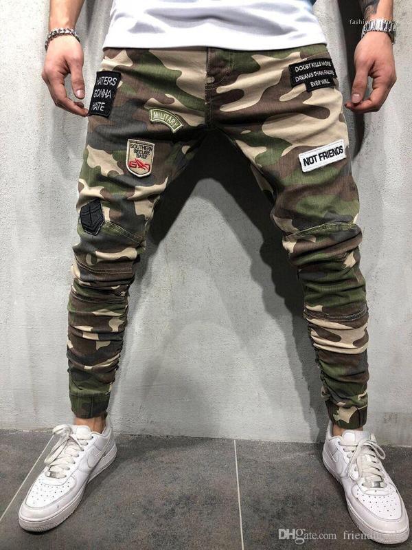 Mens lungo tratto jeans patch Mens pantaloni della matita modo raffredda l'esercito verde Mens Pantaloni Camouflage Skinny