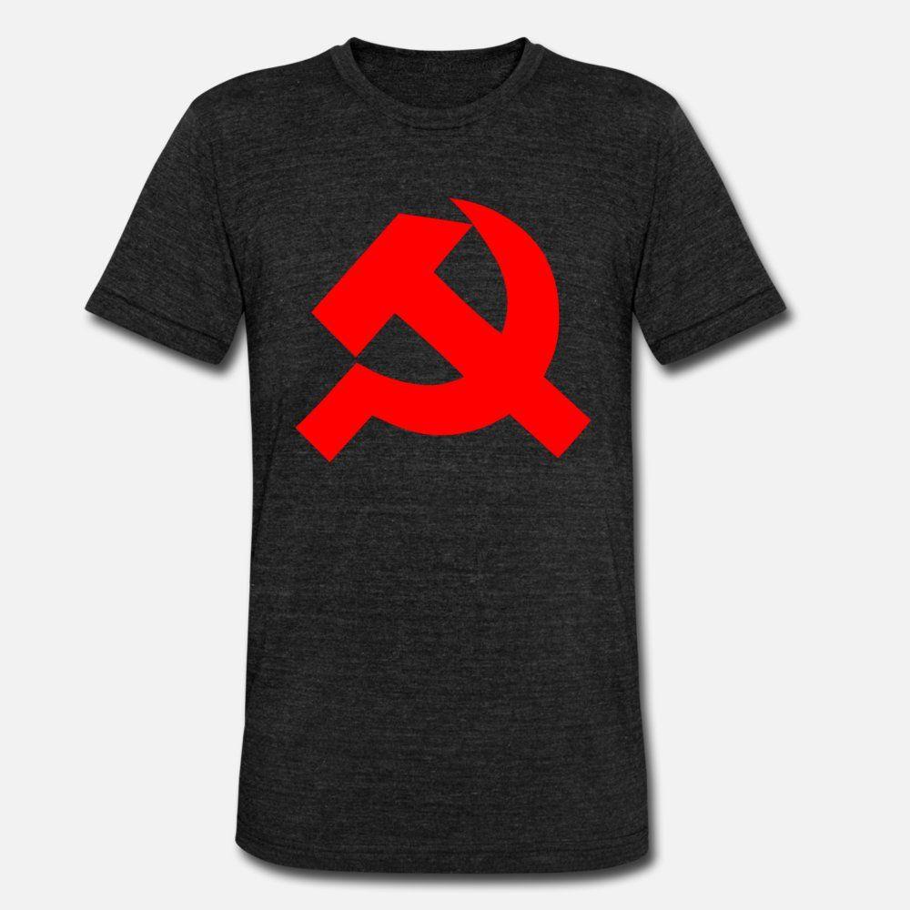 Boyun ince Grafik Komik Casual Bahar Benzersiz gömlek yuvarlak Komünist Sembol t gömlek erkekler Özel tişört