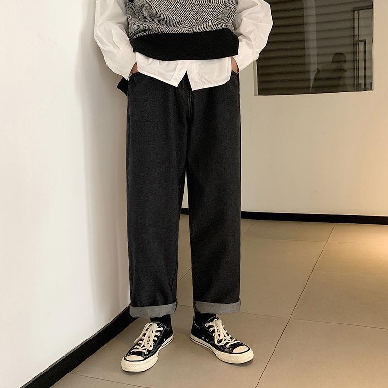 VV4bI Primavera-Verão coreano e lavado solto e versáteis jeans casual calças jeans reta dos homens as calças dos homens de estilo da moda