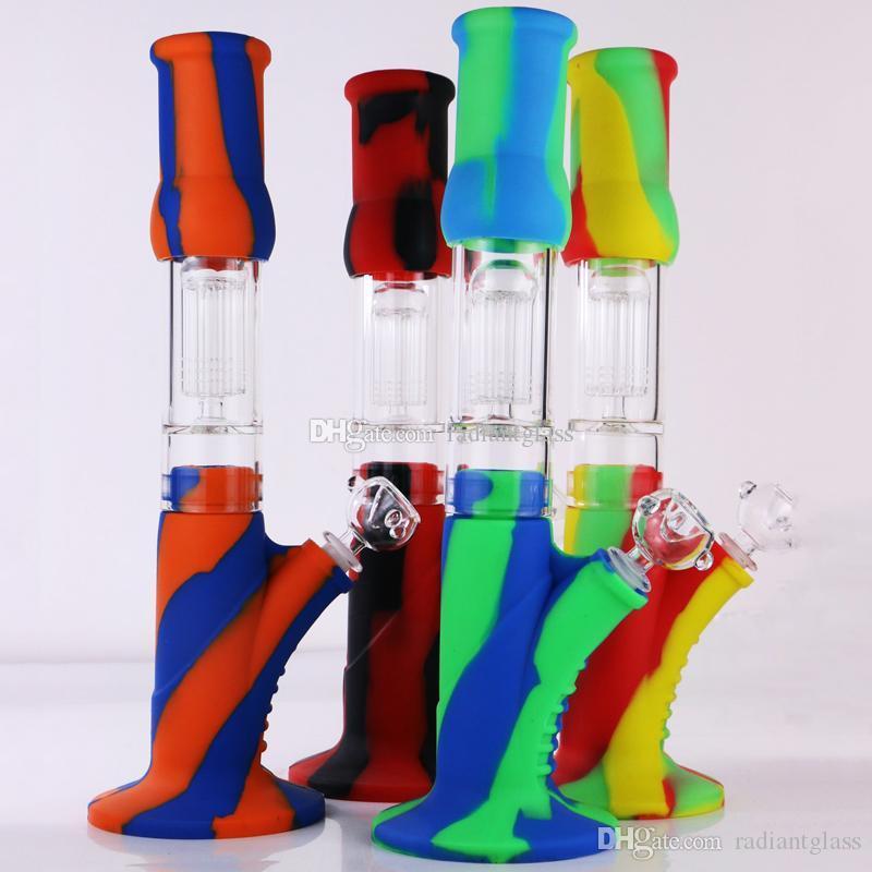 caliente de silicona Bongs 14 pulgadas 8 brazos percolador bong Glass establece tuberías de agua de vidrio tienen tallo y cuenco