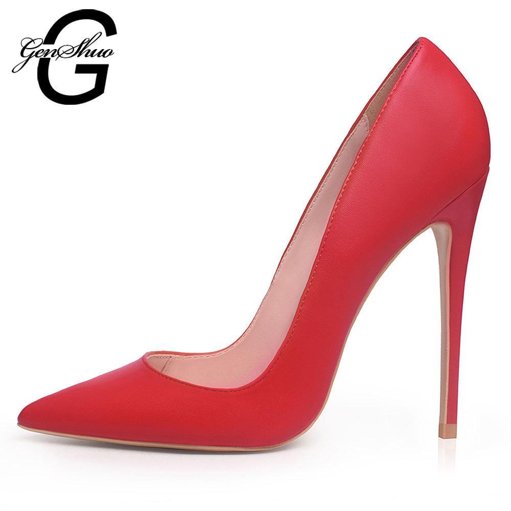 GENSHUO Blanc Hauts talons Escarpins sexy Concise solide robe noire Chaussures peu profondes chaussures de mariage Pointu Plus Size 5-12 Chaussures Femme LJ200924