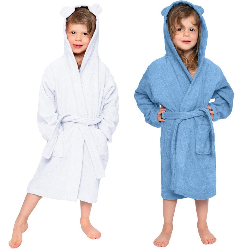 Kid Bathrobes for Girls Boys Robes Toddler Baby Soft Cotton Bathrobe Sleepwear 1-7t