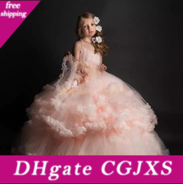 Soft Pink robe de bal robes fille fleur Halter Backless Tulle Ruffles filles Pageant Tiered Robes faites main enfants de fleur robe de soirée