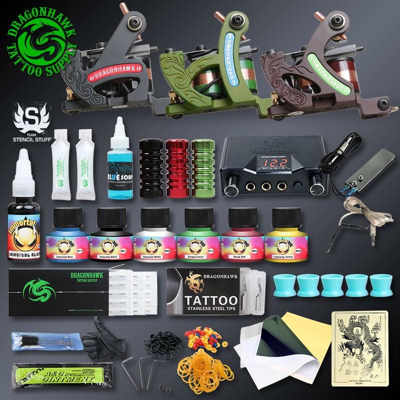 Professional Tattoo Kits Top Artist Conjunto Completo 3 Tattoo Machine Gun forro e sombreamento Tintas Alimentação Needles