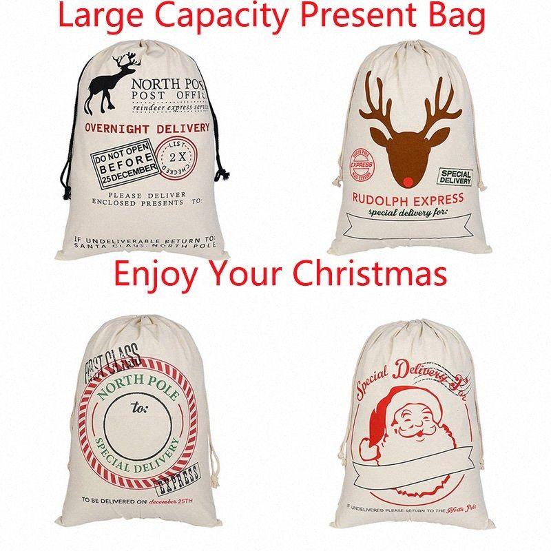 1 PCS réutilisable Noël Sacks Père Noël présent Sac 50x70cm Elk toile épaisse organique grands sacs rouge Sac à cordonnet VNMG #