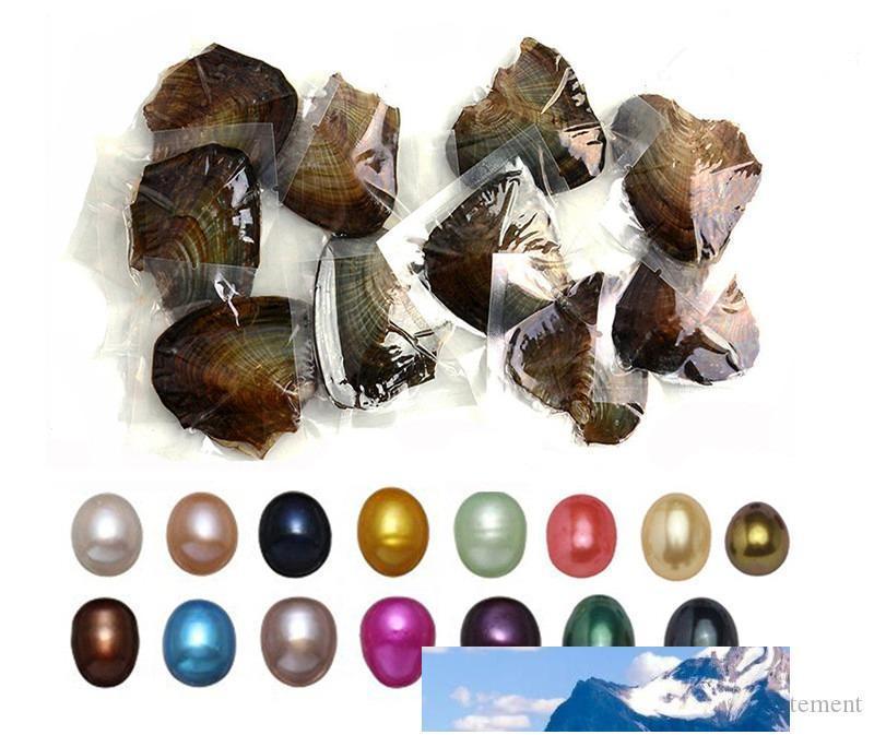 6-8mm ovale reale perle nelle ostriche 11 colori tinti Pearls Oyster perle con monili di lusso sottovuoto regalo di compleanno per le donne