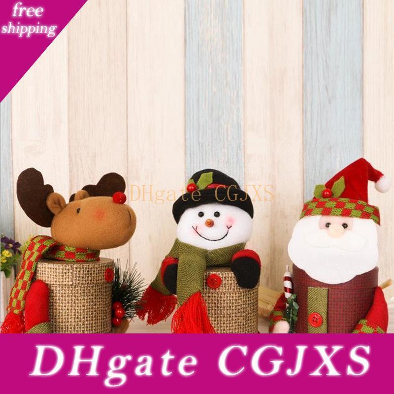 Babbo Natale Snow Man / Elk bambola peluche contenitore di regali di Natale ornamenti bambini di regali della caramella Holder bagagli Merry Xmas Decoration F20171838