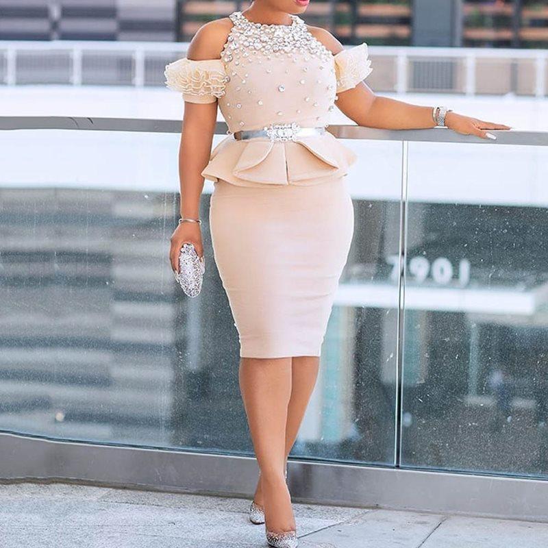 Boncuk Elmas Soğuk Omuz Ruffles Peplum Elbise Kadınlar Yüksek Bel Tunik BODYCON Akşam Parti Falbala 2 adet Dres MX200804 ayarlar
