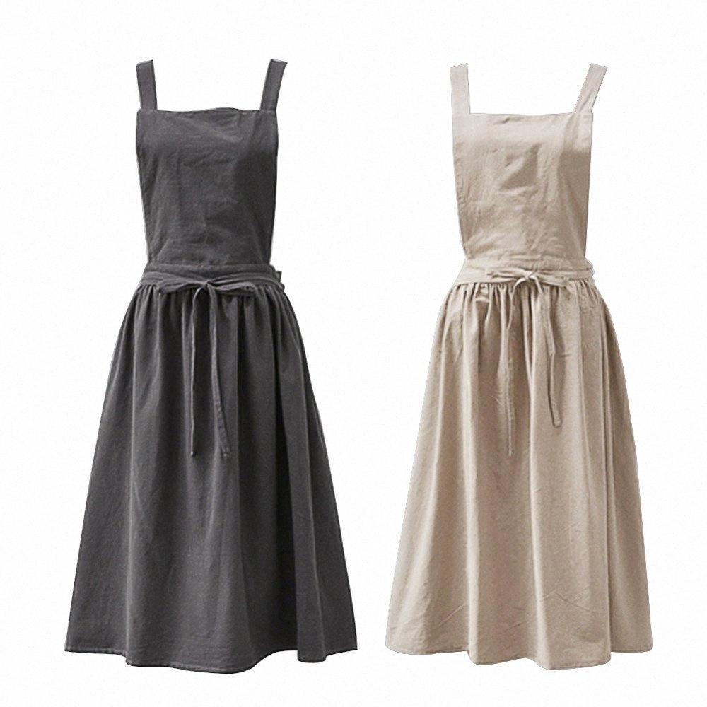 Corea Moda de Ladys Delantal de algodón de lino para adultos para la mujer delantales de cocina Cocinar Jardinería Cafetería Uniformes QqKO #