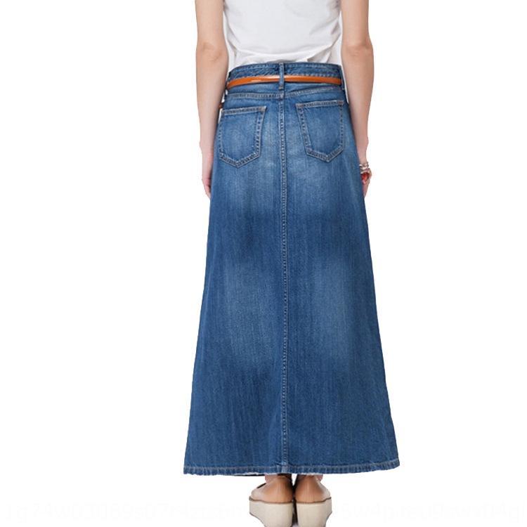 2020 nouveau style coréen haute femmes de taille jupe denim est la graisse mm de grande taille minceur ligne A cheville jupe denim mi-longueur pour les femmes KHuew