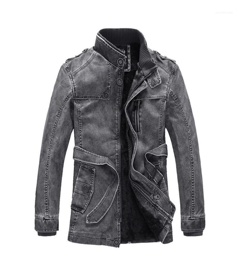 Günlük Standı Yaka Erkek Giyim giyim deri ceketler Moda Sashes Cep Mens Deri Erkek Designer Yıkanmış