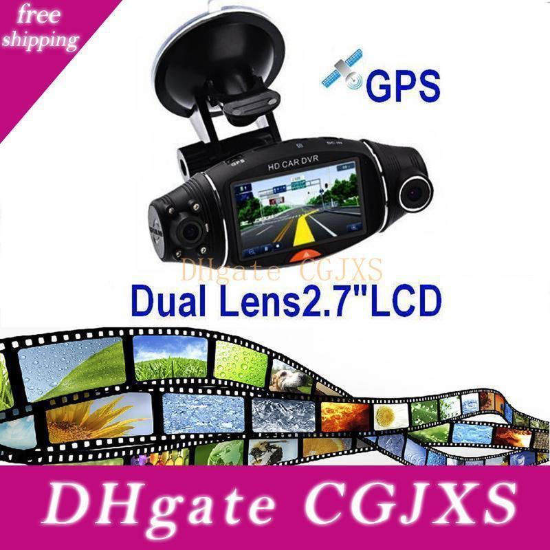 Araç Dvr Gps Dual Kamera HD 1080p Gece Görüş Çift Lens DVR Kaydedici Dash Cam 2 0,7 İnç Video Kaydedici