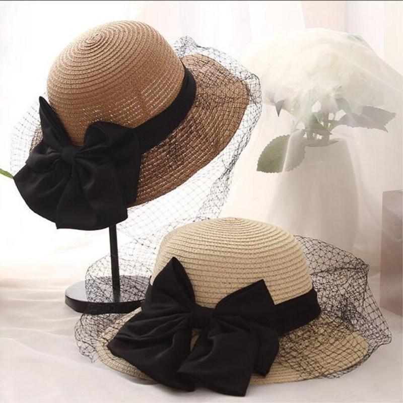 Seioum verano nuevas señoras grandes de malla arco sombrero de paja sombrero plegable del pescador transpirable