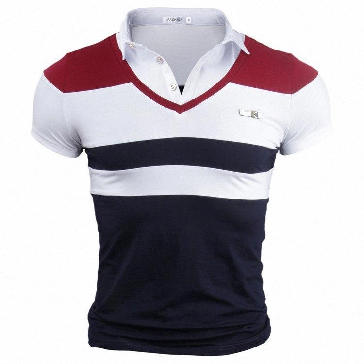 V-Ausschnitt T-Shirt für Männer Sommer Weit gestreifte kurze Ärmel Tees Large Size Breathable dünne Oberseiten OP02 #