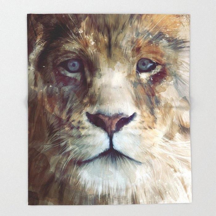 Лев Одеяло Симпатичный дизайн Lion Majesty Одеялки и бросьте одеяло для кровати Рождественские украшения Для дома 150x200 XJxM #