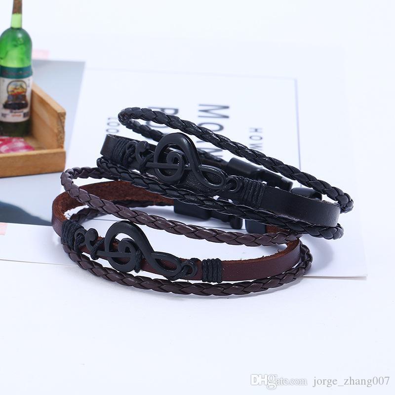 Boucle Creative Simple Noir Bracelet en cuir Remarque mâle et femelle étudiant Mode Vintage main Accessoires Bijoux tissés