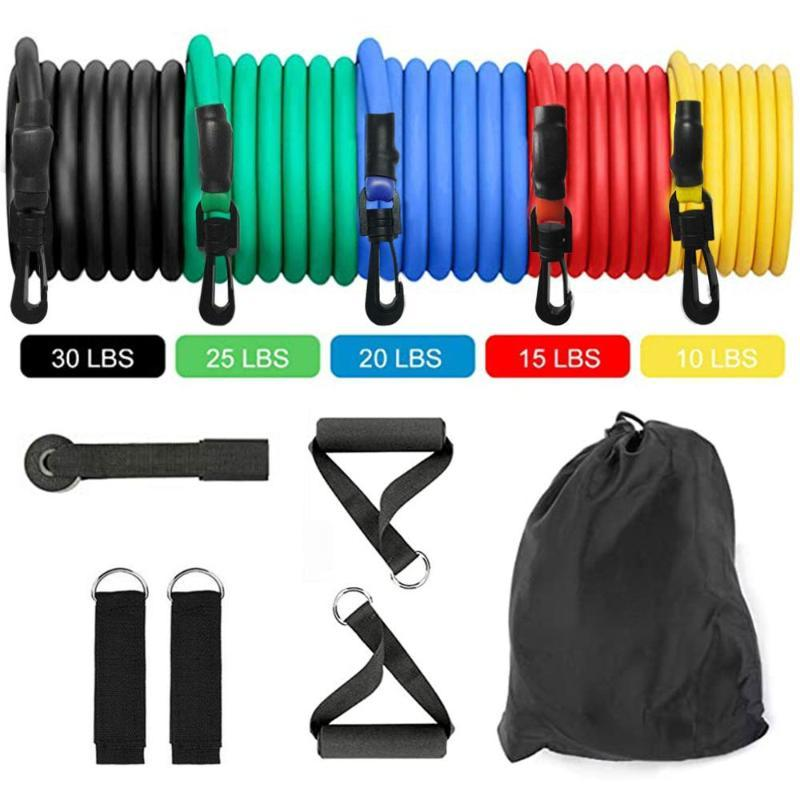 11pcs TPE Résistance Band Latex Force Gym Equipment Accueil élastique Tirer la corde Fitness Workout Musculation Équipement Drop Ship