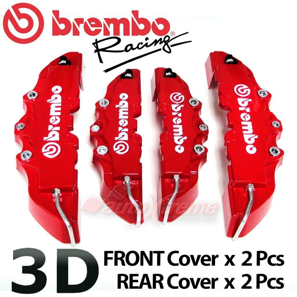2pcs Nueva 3D Brembo Rojo Estilo universal del freno de disco delantero posterior cubiertas del calibrador