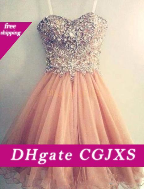 2016 Popular regresso a casa Vestidos Spaghetti Strap Tulle frisada Curto Coral Prom Dress frete grátis Curto Junior Senior vestido do baile