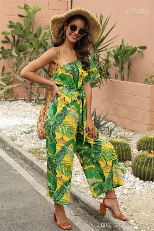 إمرأة فلورا مطبوعة حللا عطلة واحد الكتف فضفاض أنثى السروال القصير جنسي على نطاق واسع الساق Capris مع الزنانير الصيف
