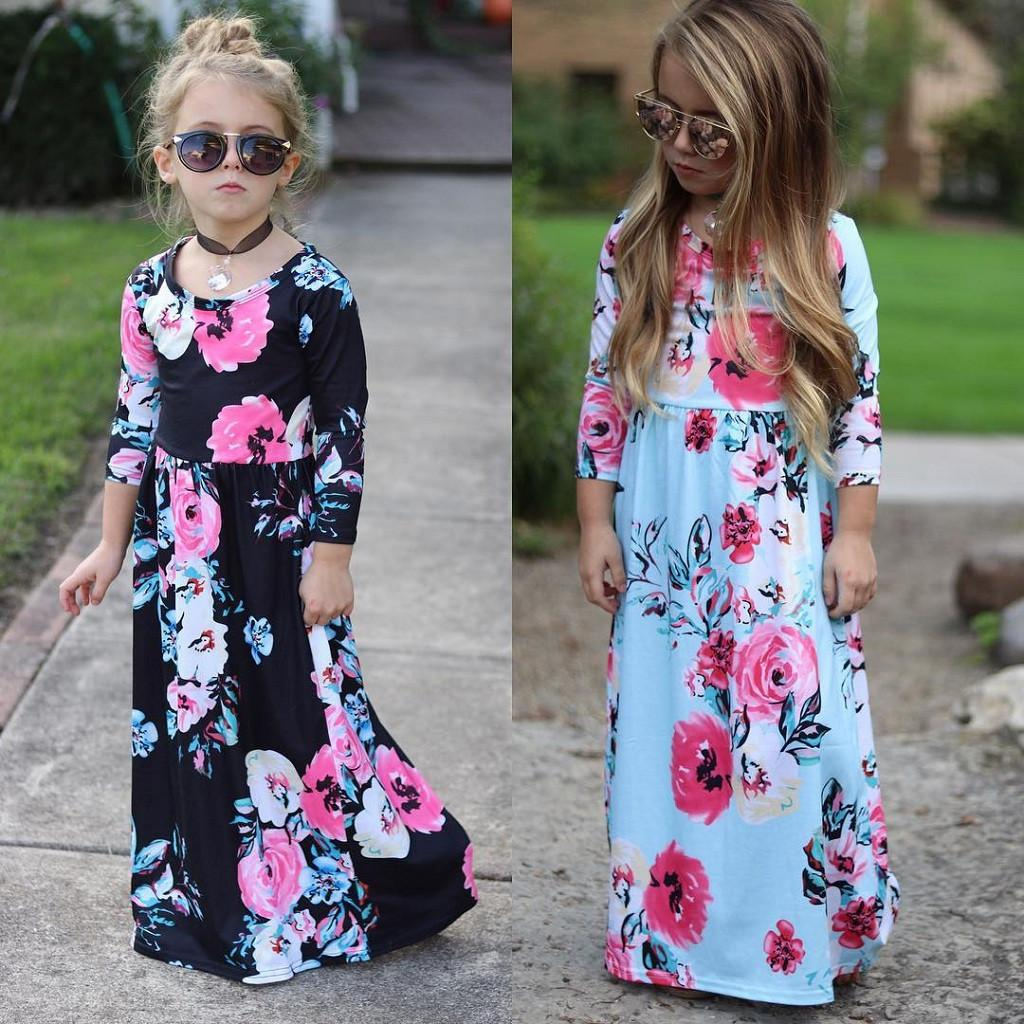 Excelent Clearance newst baby dress Fashion Toddler Baby Girl Kids 3/4 Sleeve Floral Pleated Casual Princess Long Maxi Dress Z0208