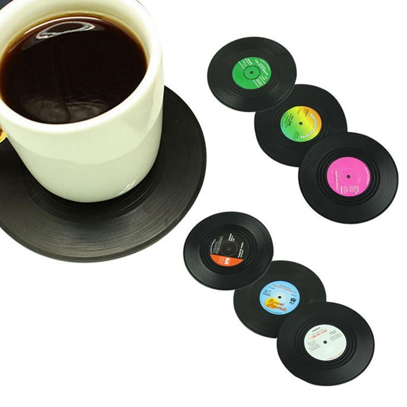 6PCS / مجموعة الرئيسية كأس الجدول حصير ريترو CD سجل الوقايات الإبداعية القهوة مشروب الشاي تحديد الموقع القدح وسادة HHA1564