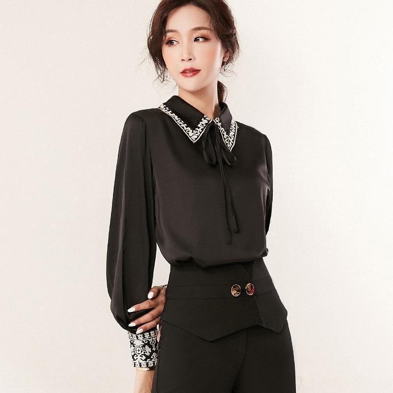 2020 nouveaux vêtements pour femmes papillon boutique automne style coréen élégante chemise intellectuelle cravate arc manches longues polyvalent chemise pour les femmes
