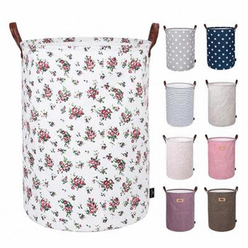 Foldable Storage Basket Kids Toys Storage Bags Bins Printed Sundry Bucket Canvas Handbags Clothing Organizer Tote IIA235 06aU#