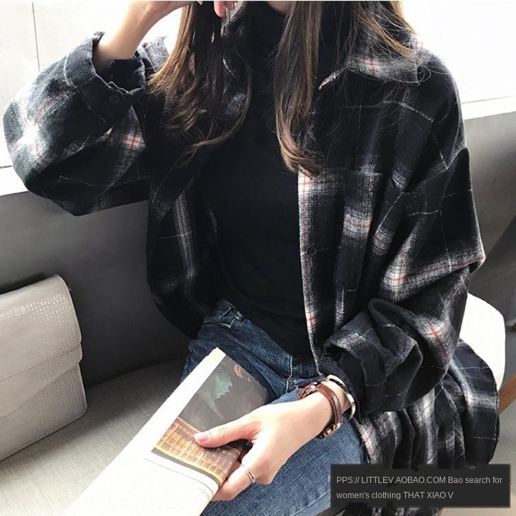 Mediados de longitud elegante capa de la camisa ocasional 2020 del estilo del otoño de Nueva Hong Kong camisa suelta BF a cuadros capa de las mujeres