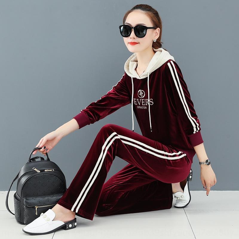 sport del velluto oro soddisfare maglione delle donne di autunno 2020 nuovo modo di svago in esecuzione a due piece Grande maglione sportivo sportivo 8GxAK 8GX