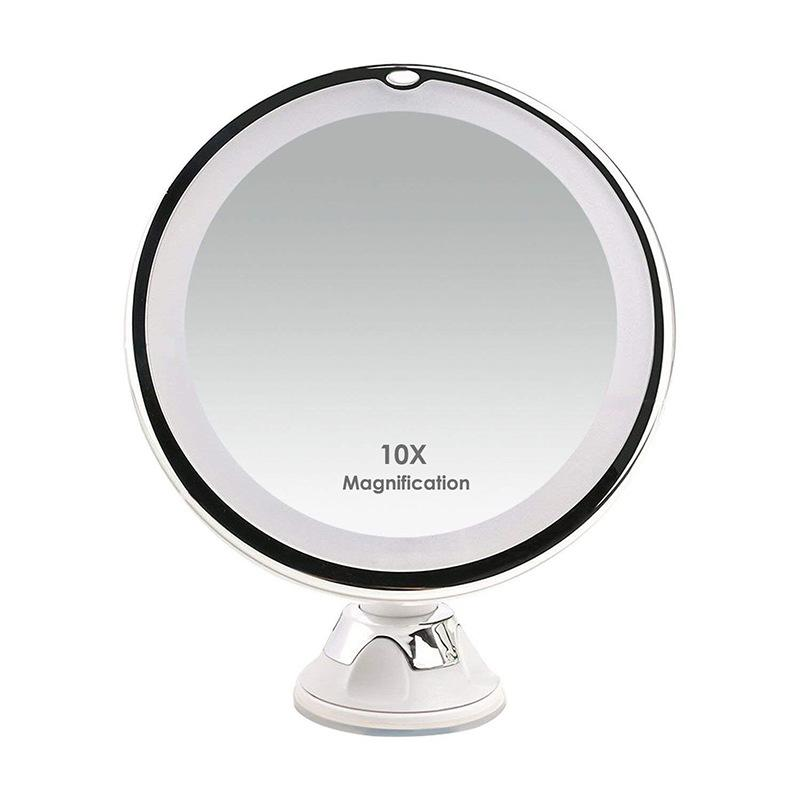 360 Degree Rotation 10X Makeup Mirror Magnify Flexible Mirror Bathroom With Suction Cup Vanity Mirror With LED Light Makeup Tools CY BH2476