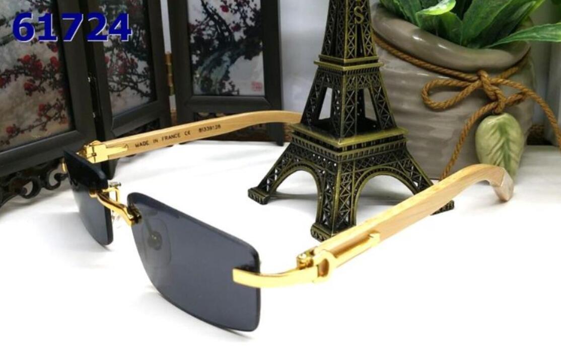 Occhiali da sole con il caso superiori di occhiali da sole Rimless donne Occhiali da sole Retro Classic Buffalo Femminile Gradiente Sun di vetro dell'annata degli uomini