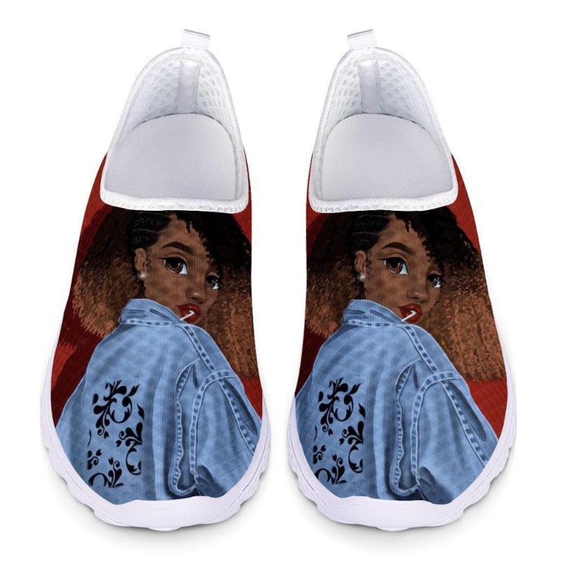 Cusotm Stampa Scarpe Art Girl stampa Mesh nero africano scarpe da donna Slip-on Appartamento in estate femminile Mocassini Zapatos