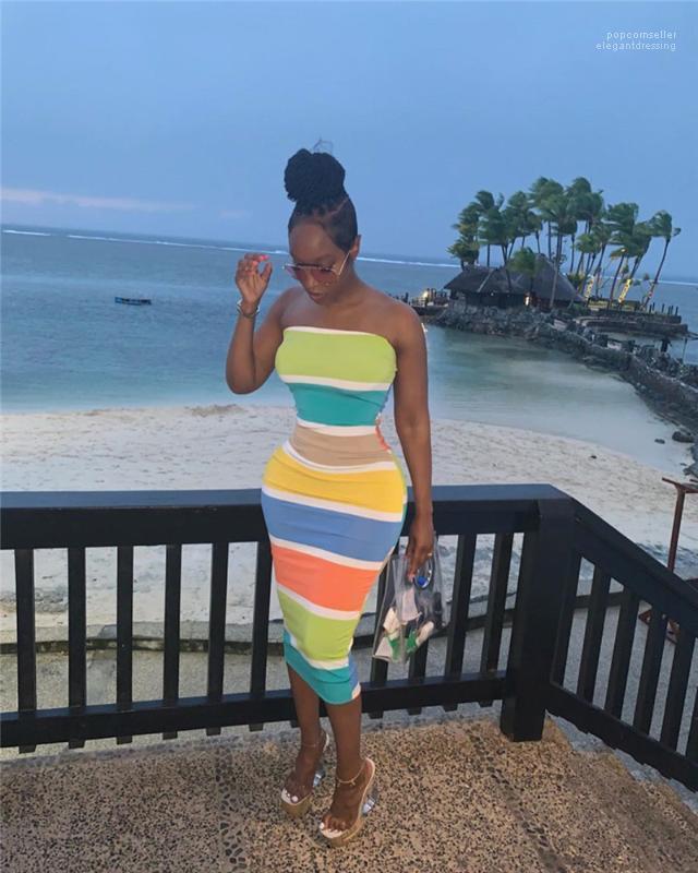 Платья повелительницы Holidays платье пляж лето Женского Щитовые Bodycon платье без бретелек Женщины Радуга Длинного