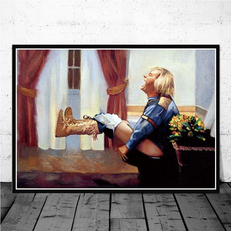 Canvas pintura a óleo Dumb and Dumber Banho Jim Carrey engraçado do filme Toilet Poster Art Prints Imagem Living Room Home Decor