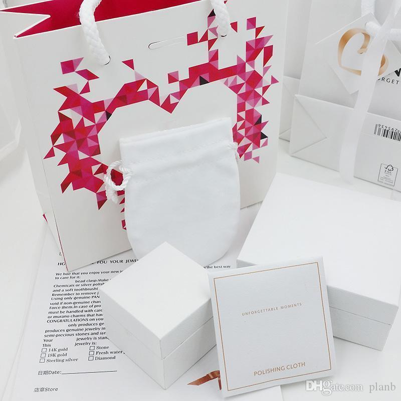 -De-rosa de alta qualidade Caixas de Jóias Diamonds Coração Embalagem conjuntos Fit Pandora colar pulseira Anéis Brincos encantos caixa Original