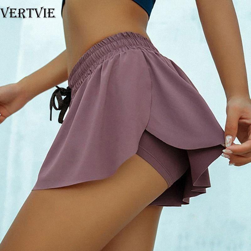 VERTVIE Yoga Shorts respirável roxo corrente de bicicleta Biker Shorts Mulheres 2 em 1 Marathon Quick Dry Gym solto Esporte tG4k #