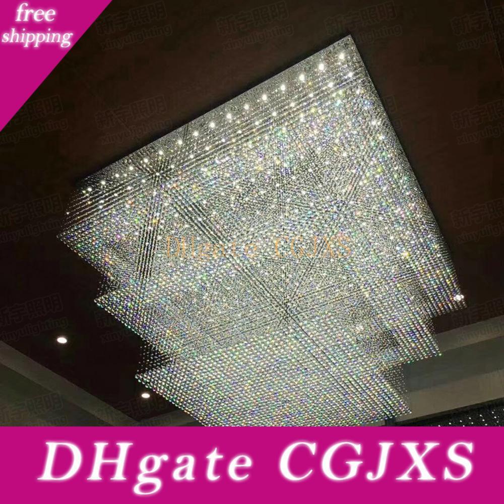 Large Crystal Chandelier Modern Hotel Lighting Ac110v 220v Lustre 3 Tier Led Cristal Ceiling Lamp Foyer Lights